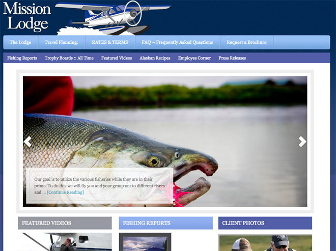 Screen shot of the new Mission Lodge website
